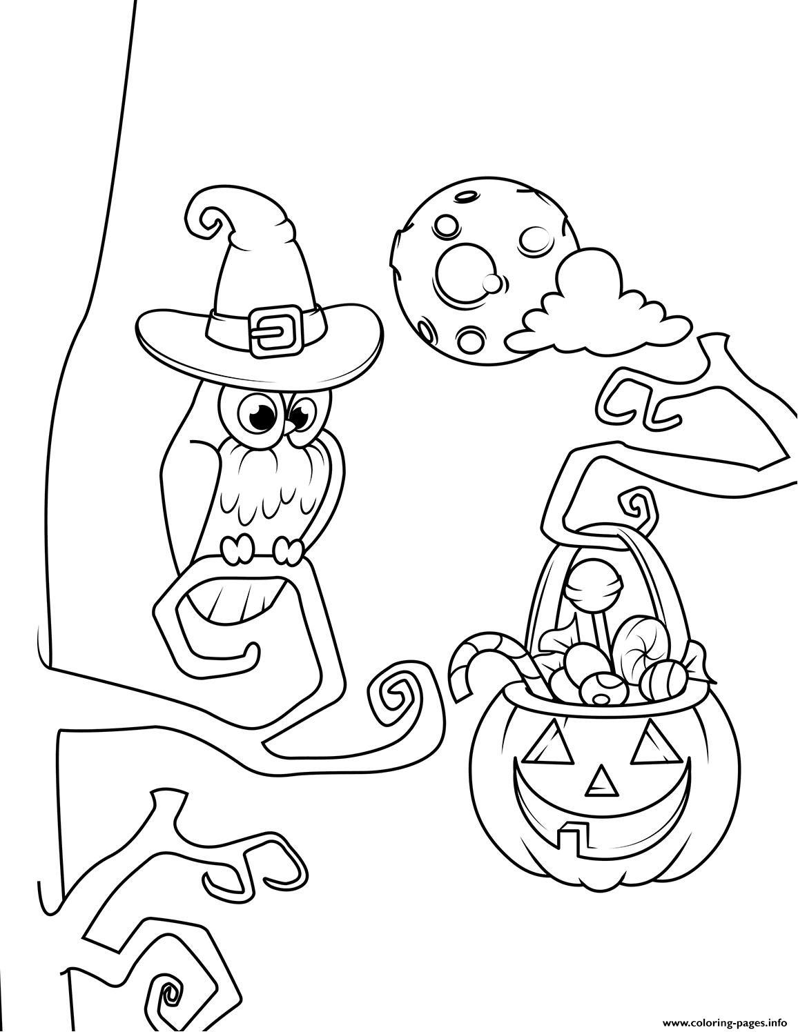 Owl And Jack O Lantern With Candies Halloween coloring pages