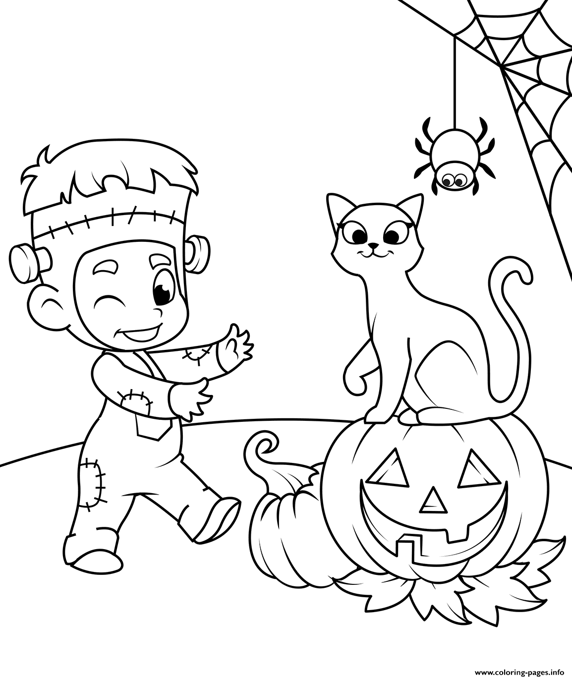 Cute Kid In A Costume With A Cat And Jack O Lantern Halloween coloring pages