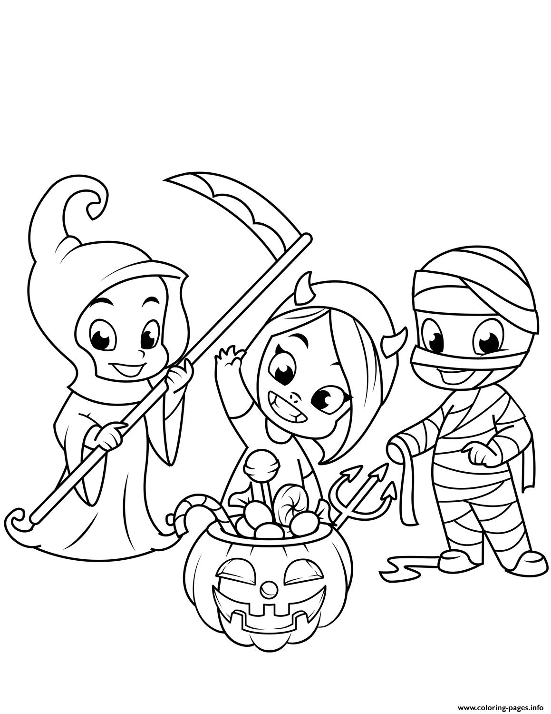 Cute Little Grim Reaper Devil Mummy And A Jack O Lantern