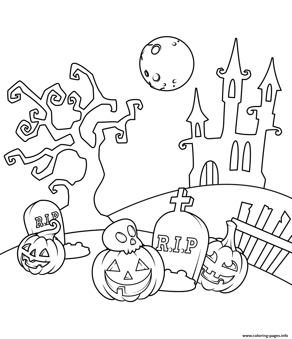 Scene In The Cemetery Halloween coloring pages