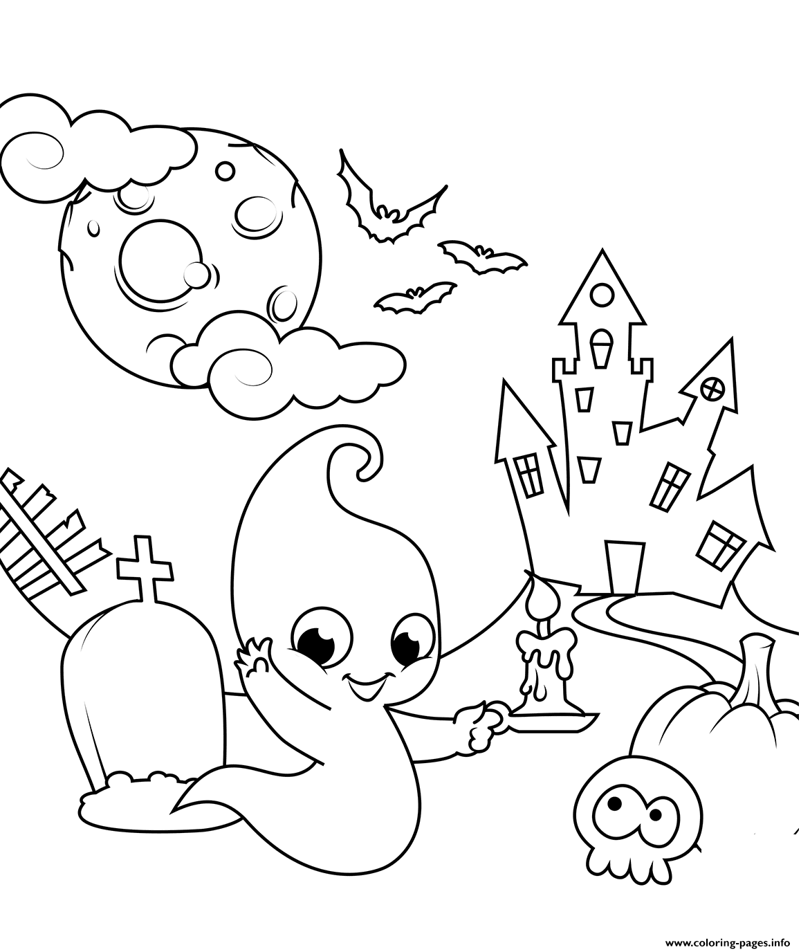 Scene With A Cute Ghost Halloween Coloring Pages Printable