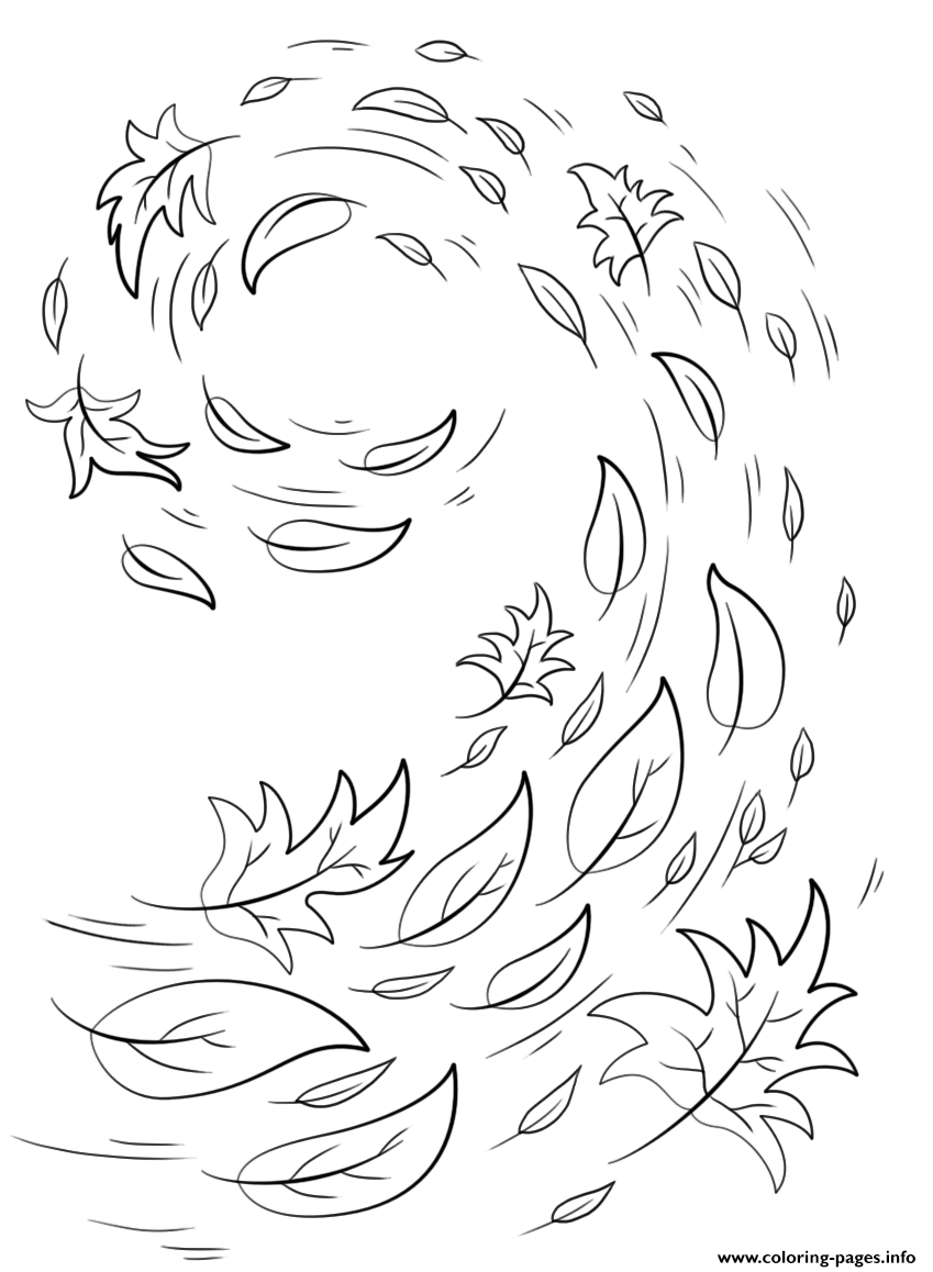 - Swirling Autumn Leaves Fall Coloring Pages Printable