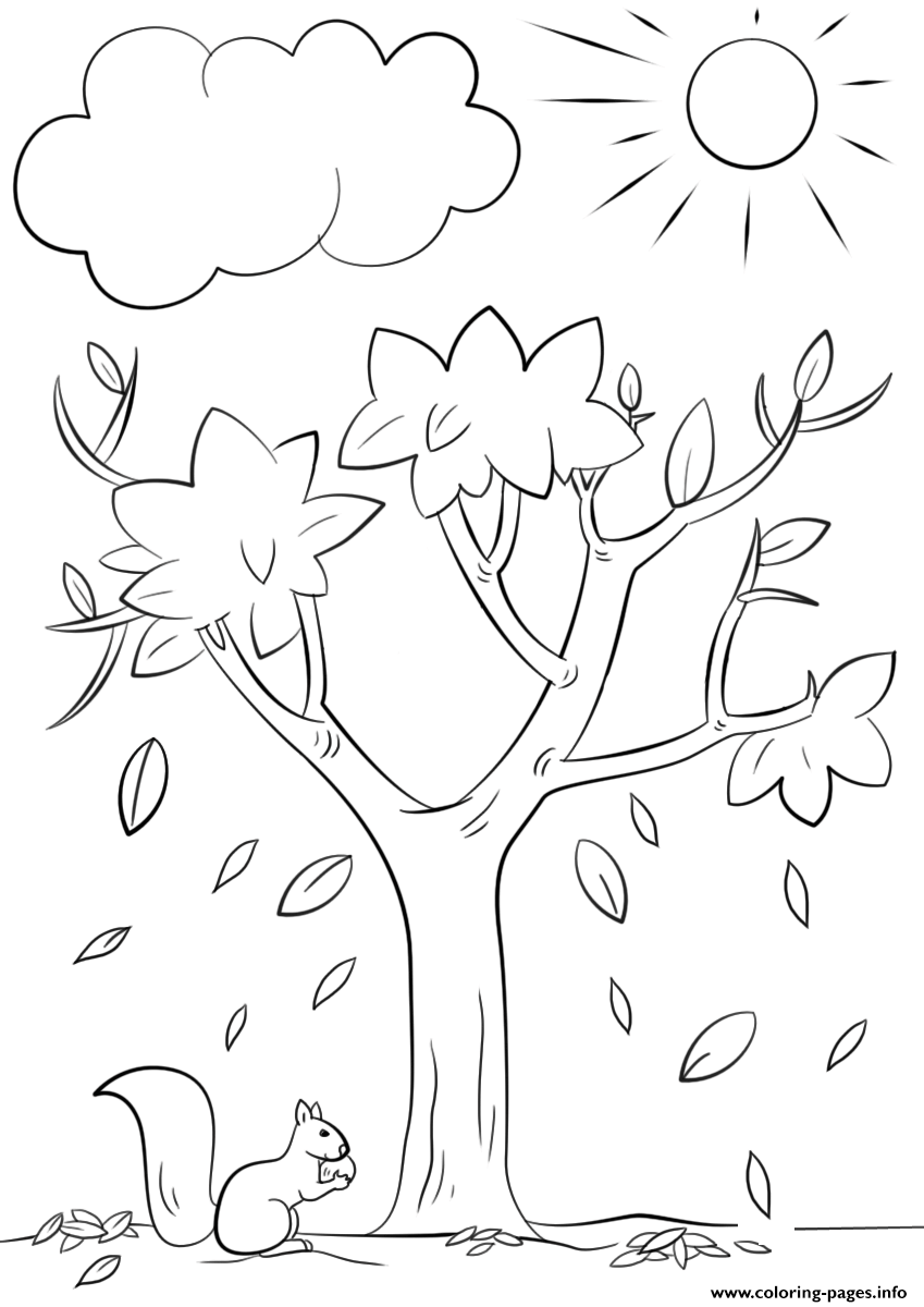 Fall Tree Nature Coloring Pages Printable