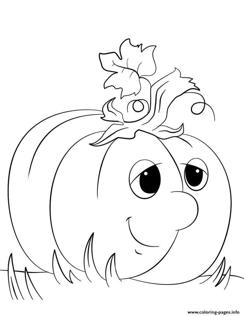 Cute Cartoon Pumpkin By Lena London coloring pages
