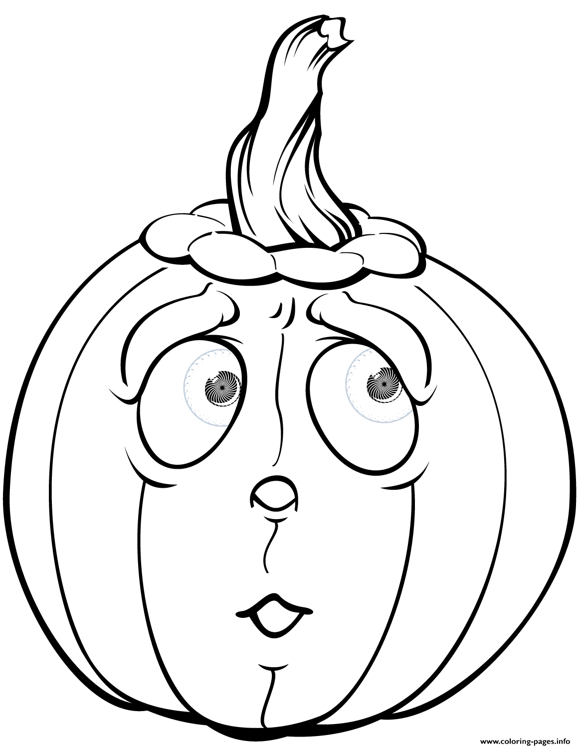 Scared Pumpkin Halloween Coloring Pages Printable