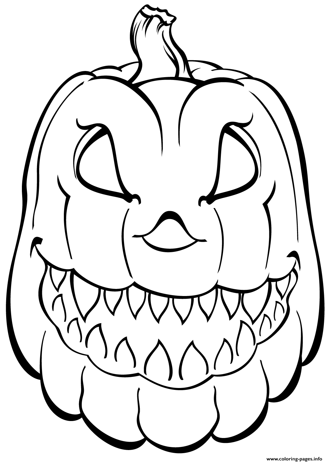Scary Pumpkin Halloween Coloring Pages Printable