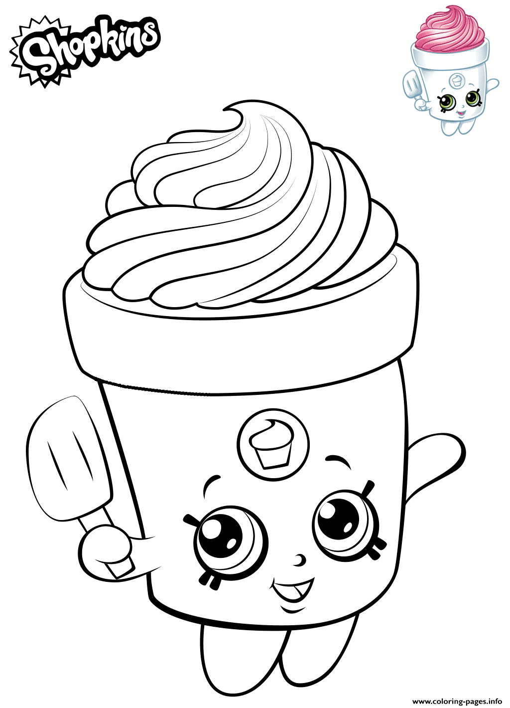 Cute Shopkins Freda Frosting coloring pages