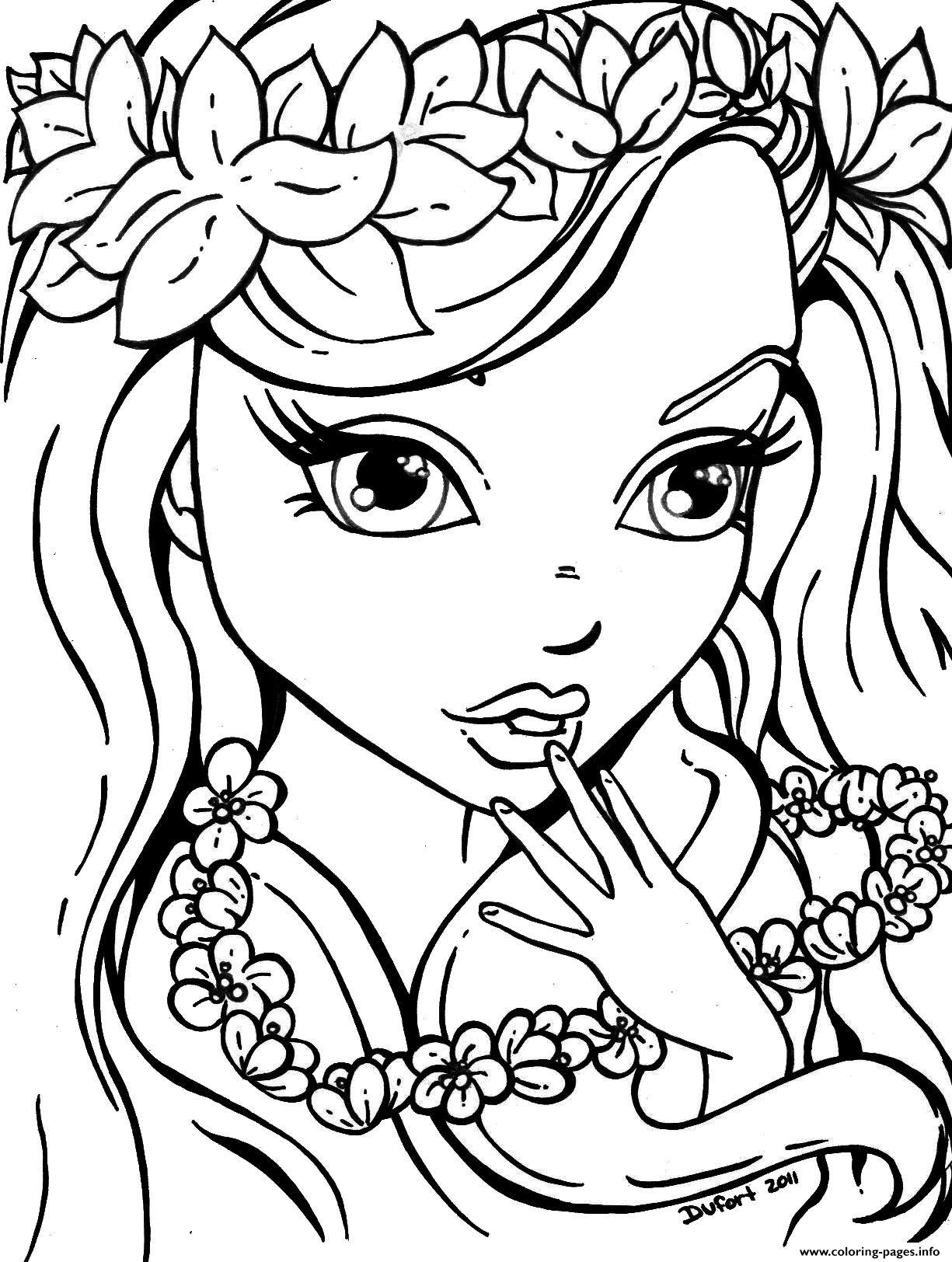 Flowers Girls For Teens Coloring Pages Printable