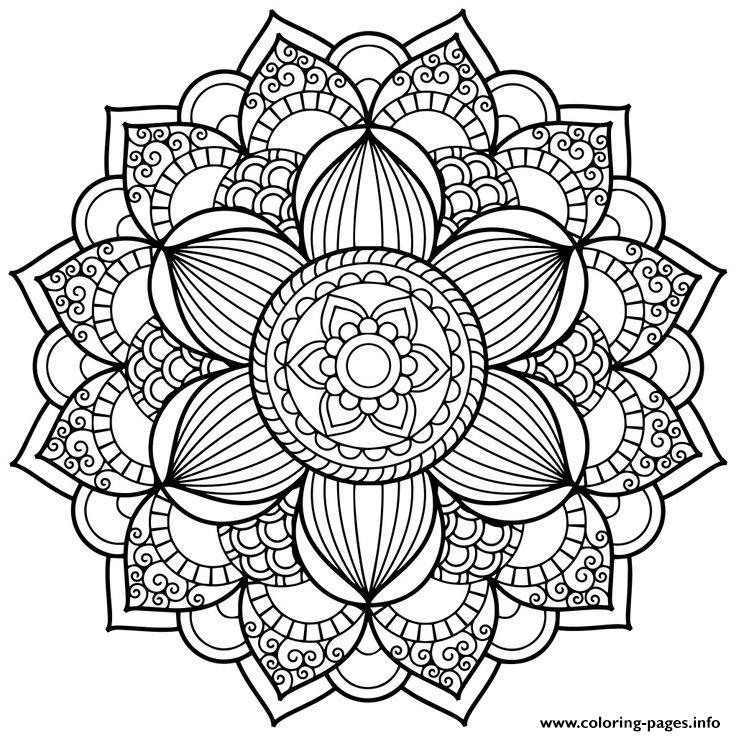 Flower Zentangle For Teens Coloring Pages Printable