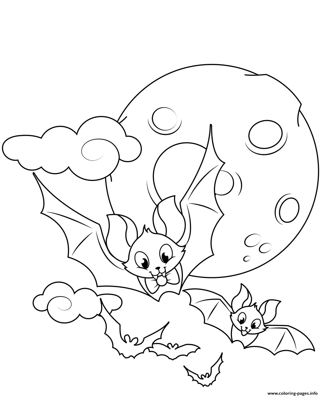 Cute Flying Bats Halloween Coloring
