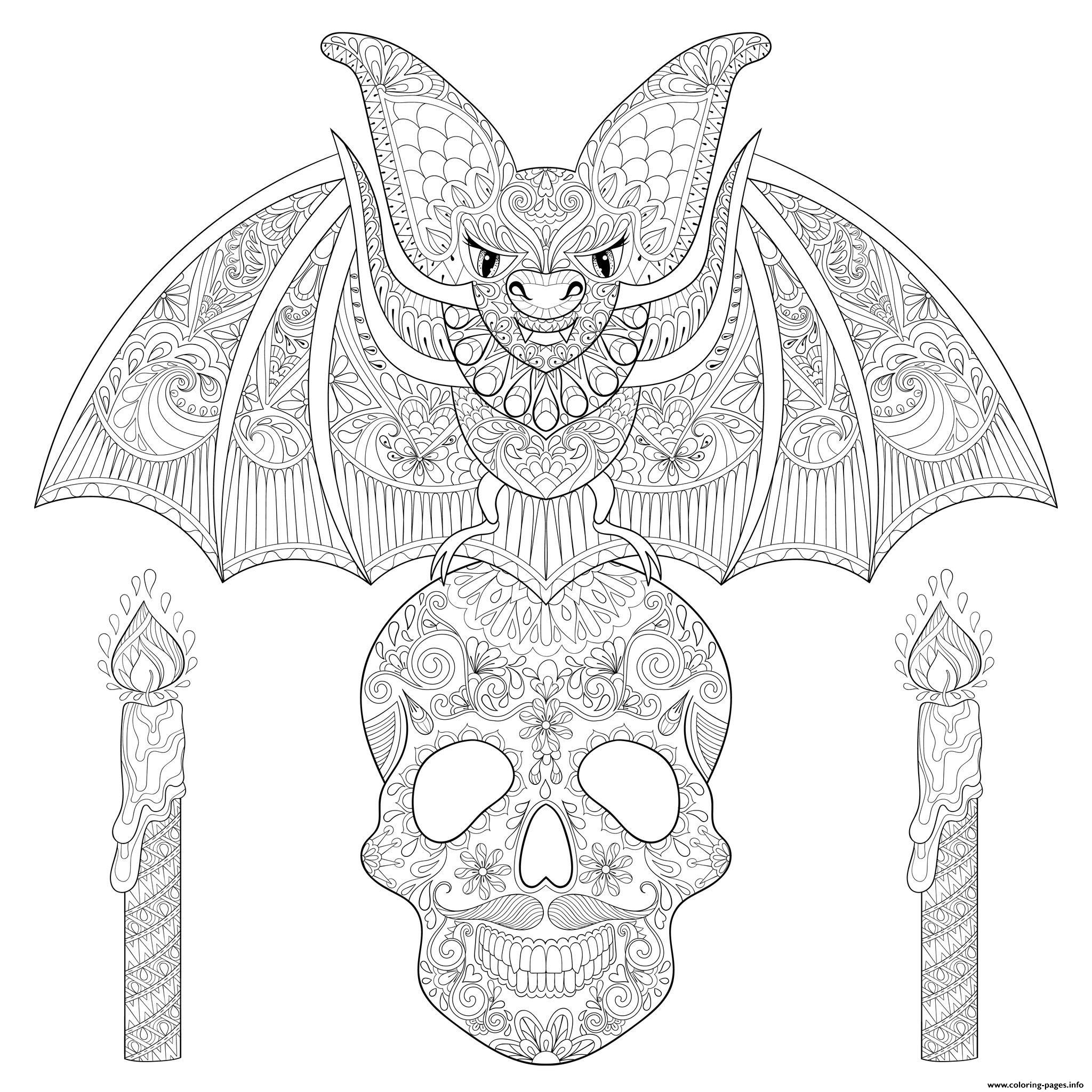 Halloween Adult Bat Sitting On Skull Coloring Pages Printable