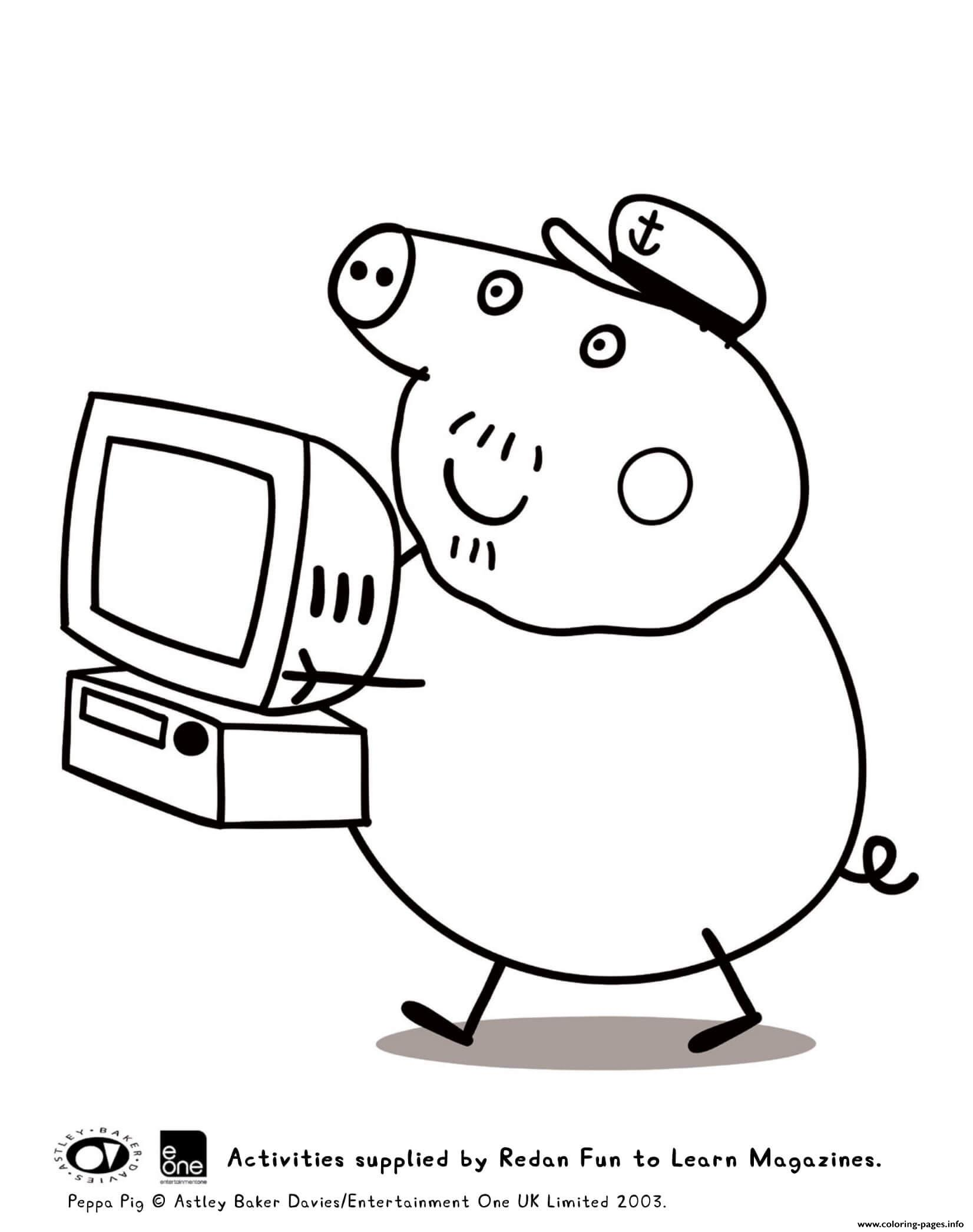 - Grandpa Computer Peppa Pig Coloring Pages Printable
