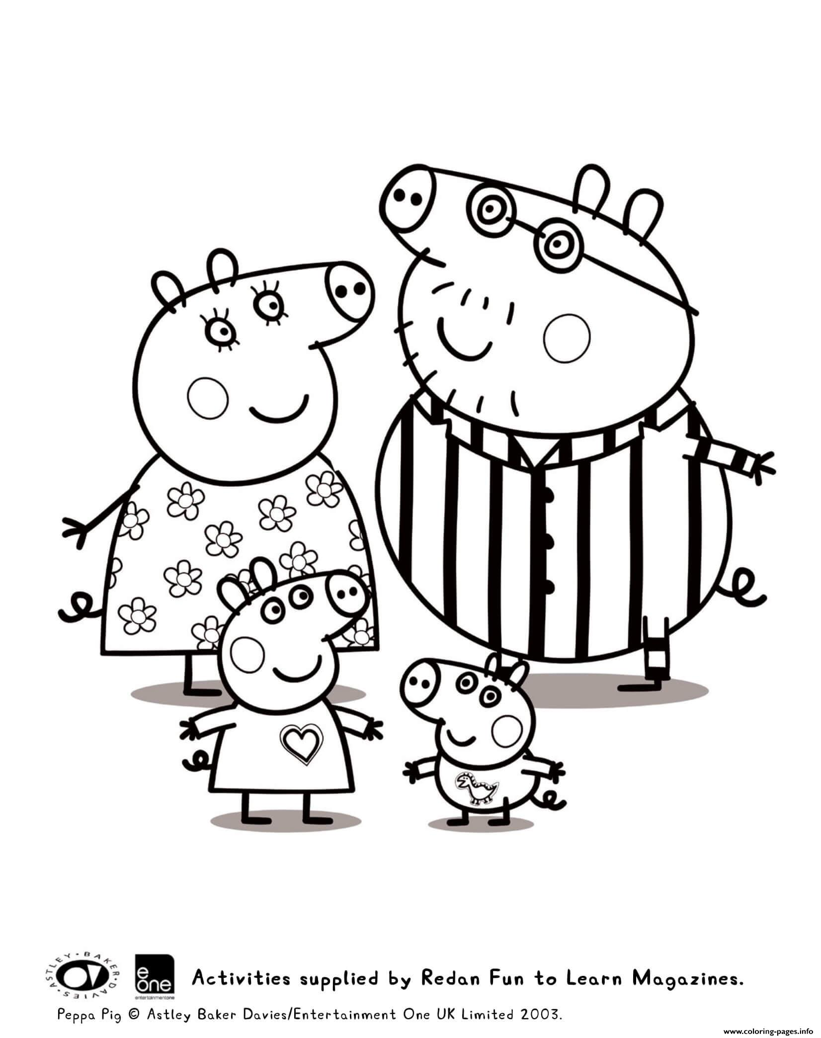 Peppa And Family Pyjama Peppa Pig Coloring Pages Printable