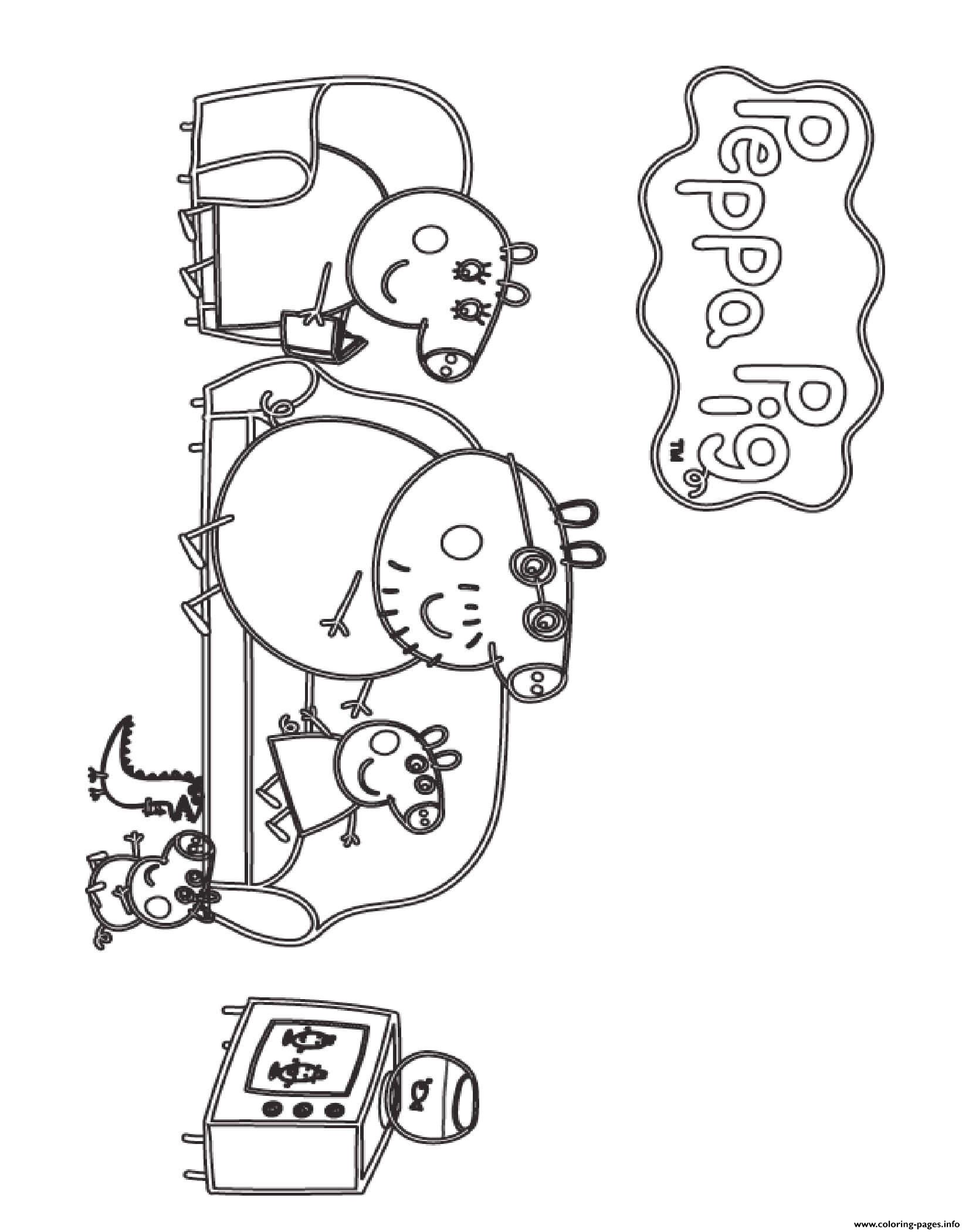 Watching Tv Peppa Pig coloring pages