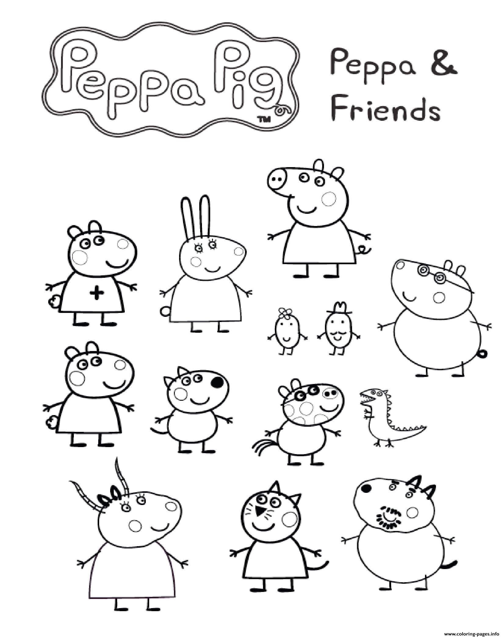 Peppa Pig And Friends Coloring Pages Printable