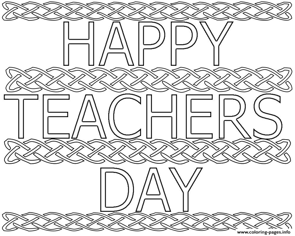 Happy Teachers Day Kids Coloring Pages Printable