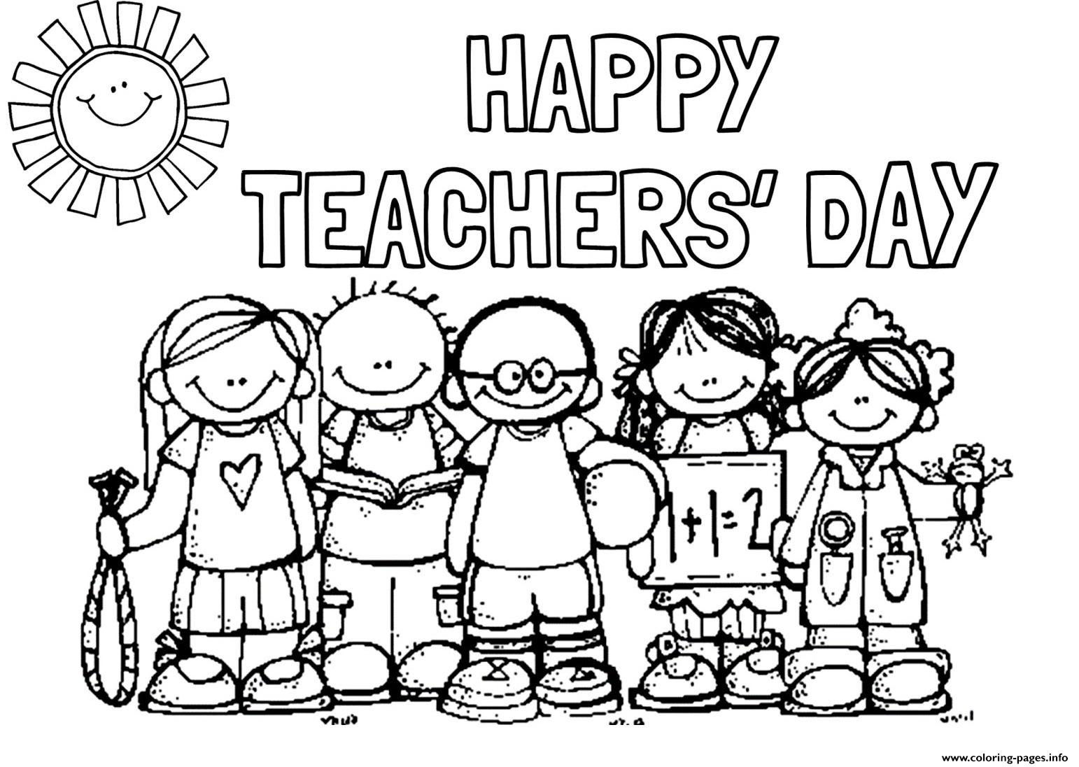 Happy Teachers Day Students Picture coloring pages