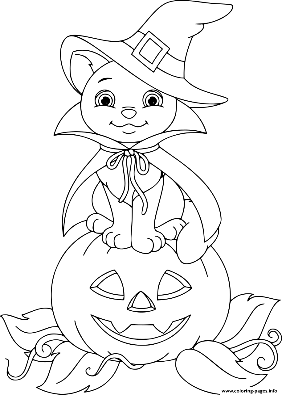 Cat On Pumpkin Halloween Coloring