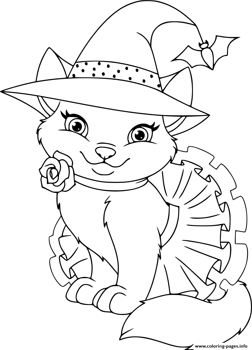Cat Witch Halloween Coloring Pages Printable