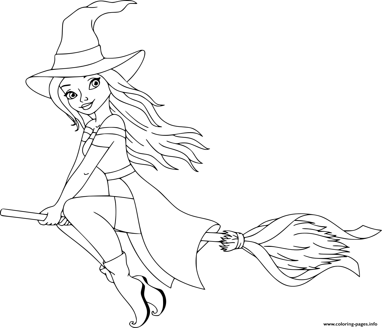 Cute Witch Barbie Coloring Pages Printable