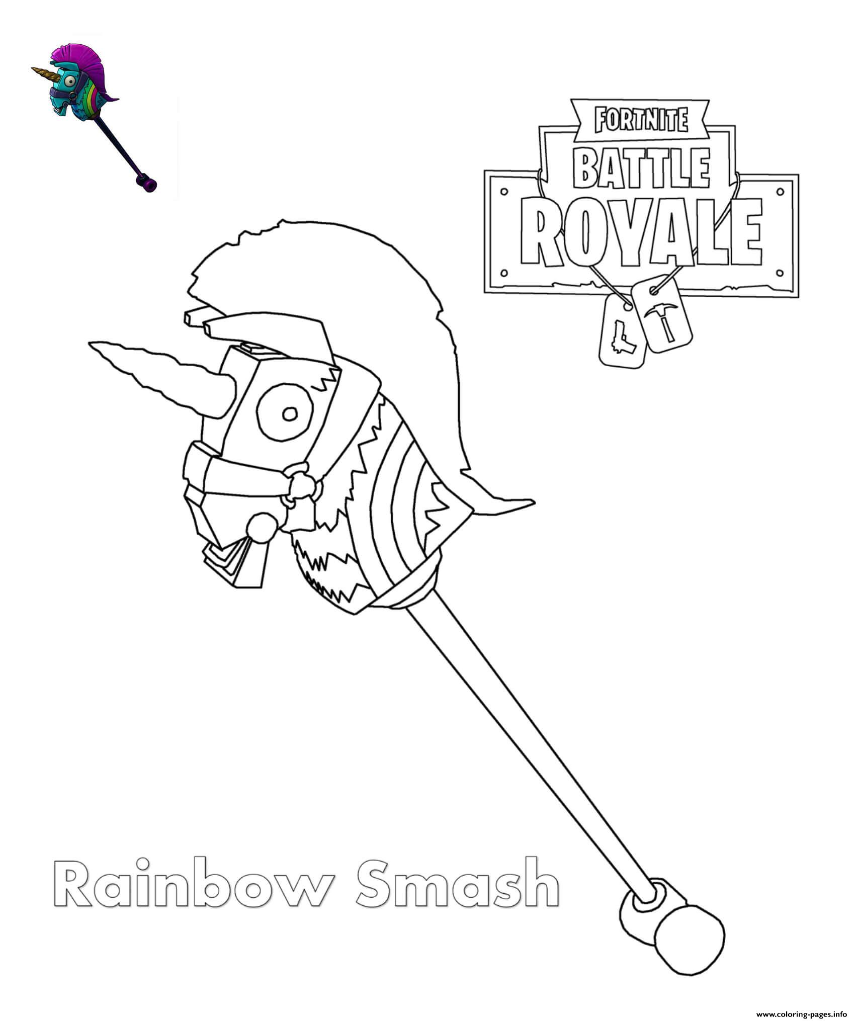 Rainbow Smash Fortnite Coloring Pages Printable