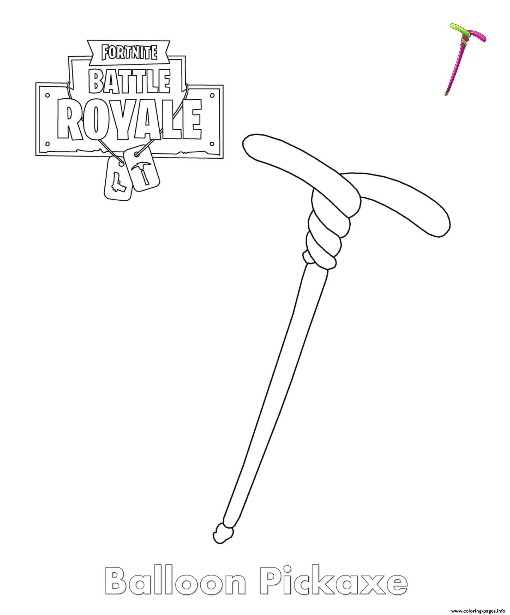 Fortnite Balloon Pickaxe Item Coloring Pages Printable