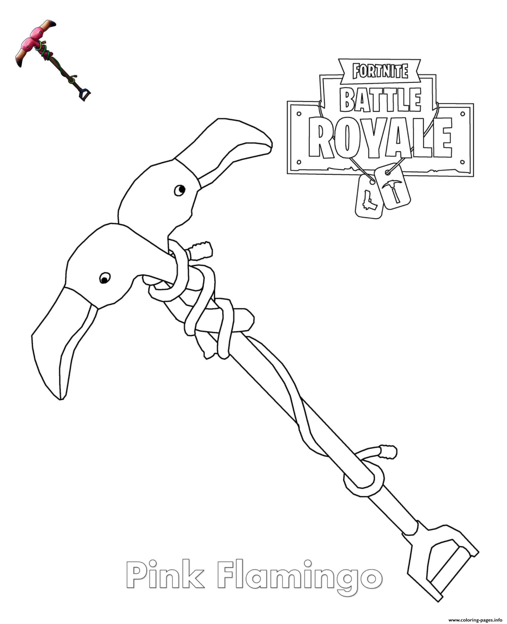 Pink Flamingo Pickaxe Fortnite Coloring Pages Printable