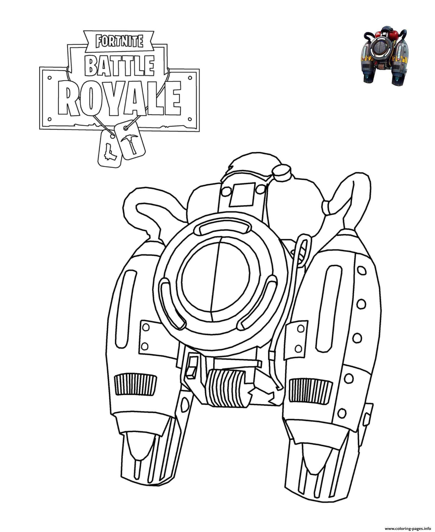 Fortnite Jetpack Coloring Pages Printable