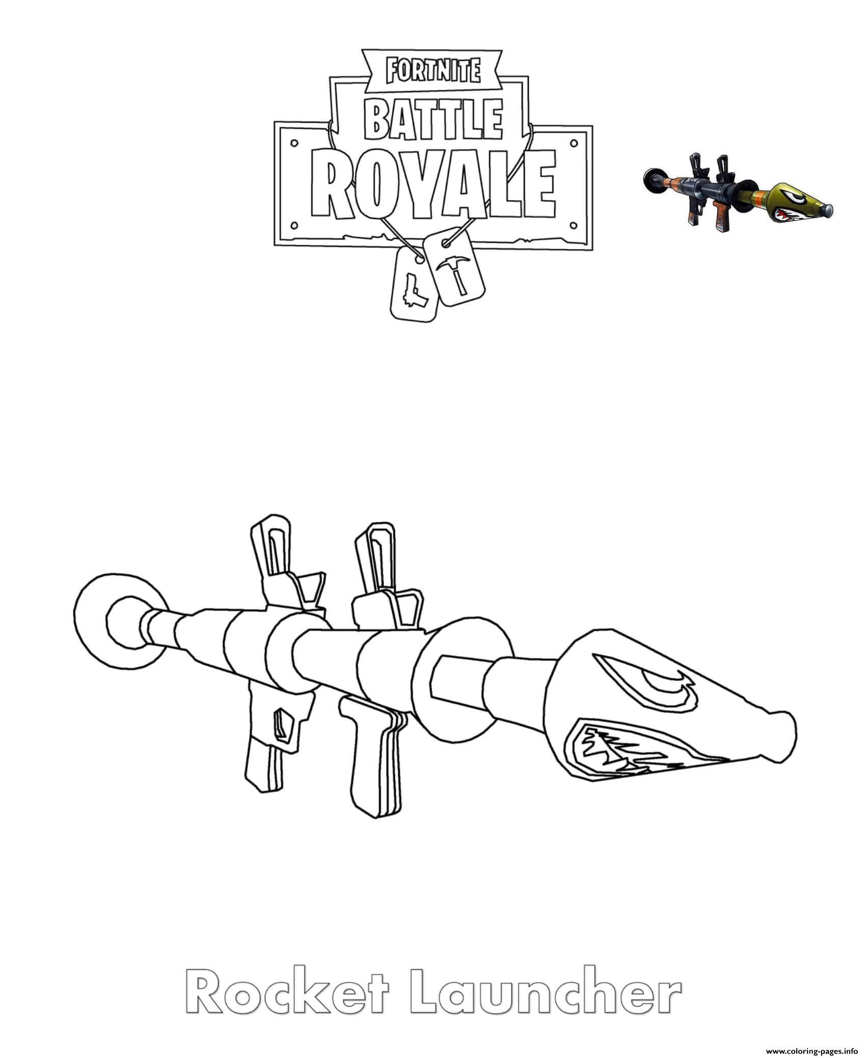 Rocket Launcher Fortnite Coloring Pages Printable