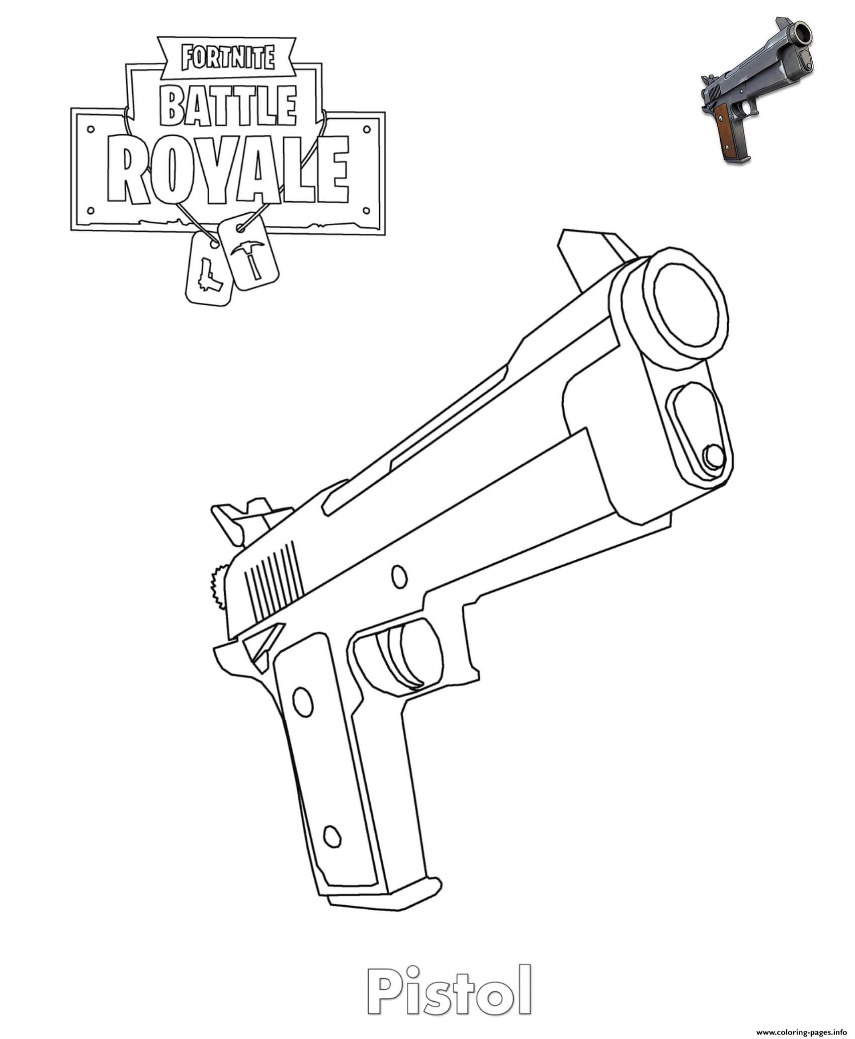 Pistol Fortnite Item coloring pages