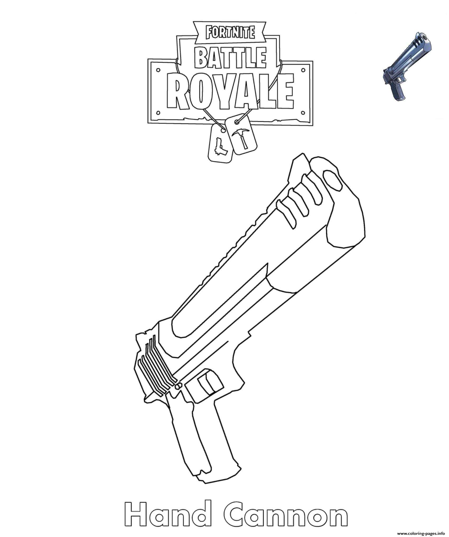 Hand Cannon Fortnite Battle Royale Coloring Pages Printable