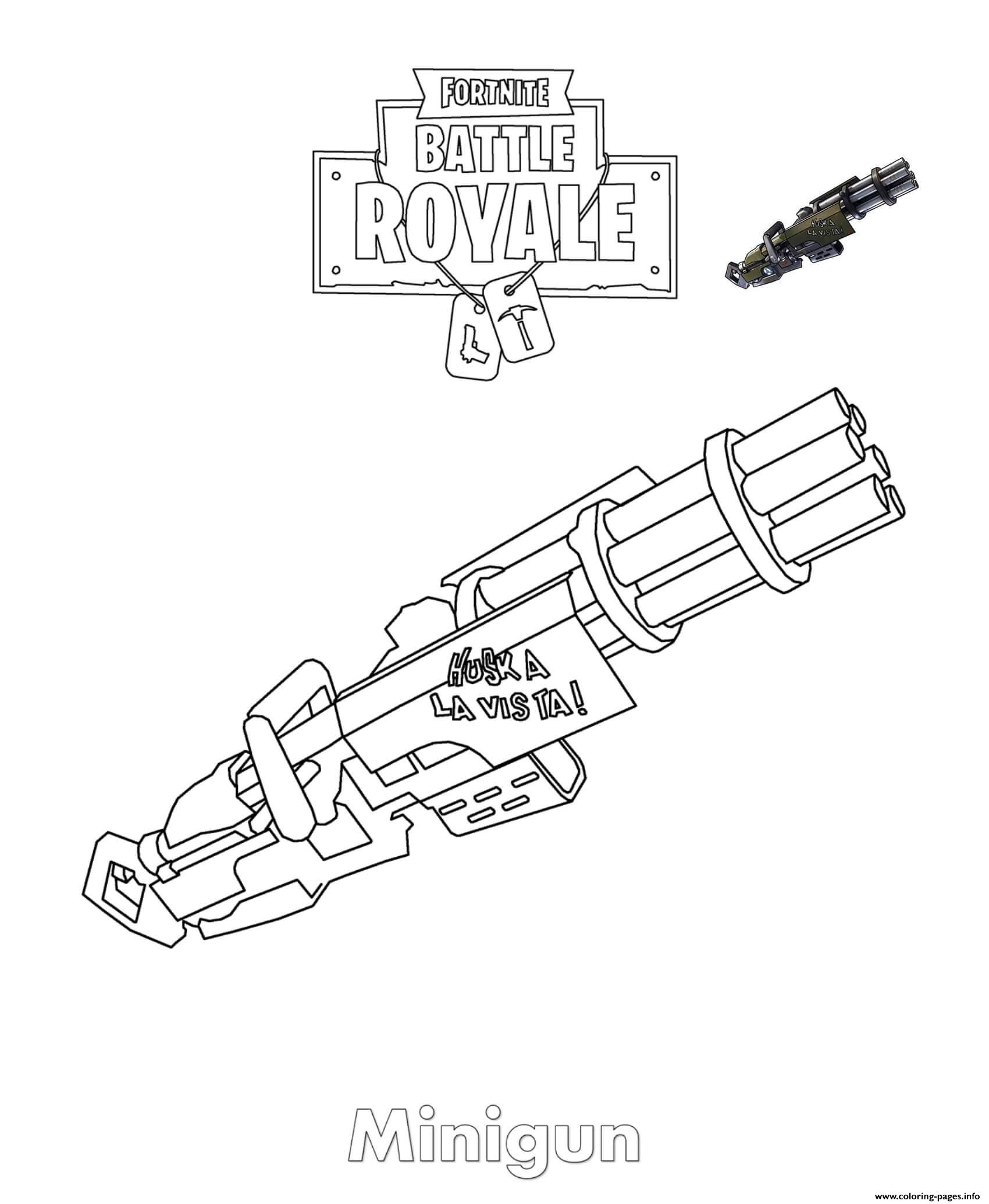 Minigun Fortnite Coloring Pages Printable