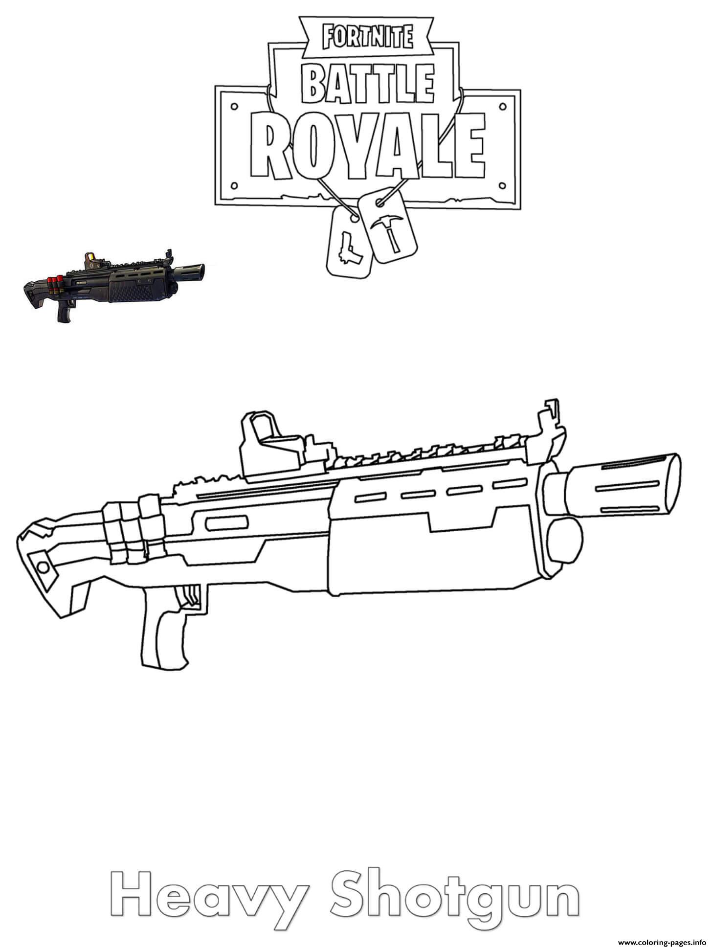 Heavy Shotgun Fortnite coloring pages