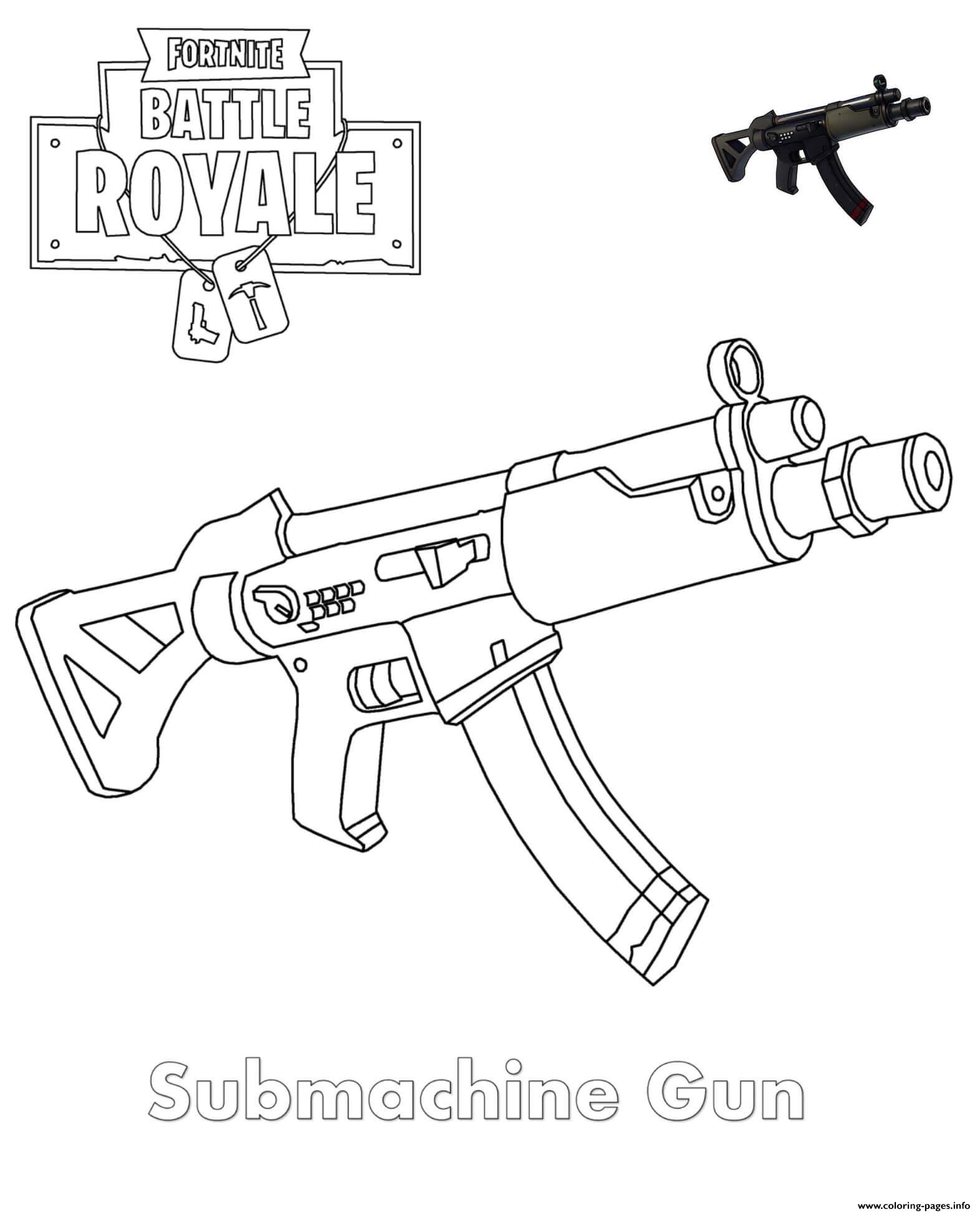 Submachine Gun Fortnite Coloring Pages Printable