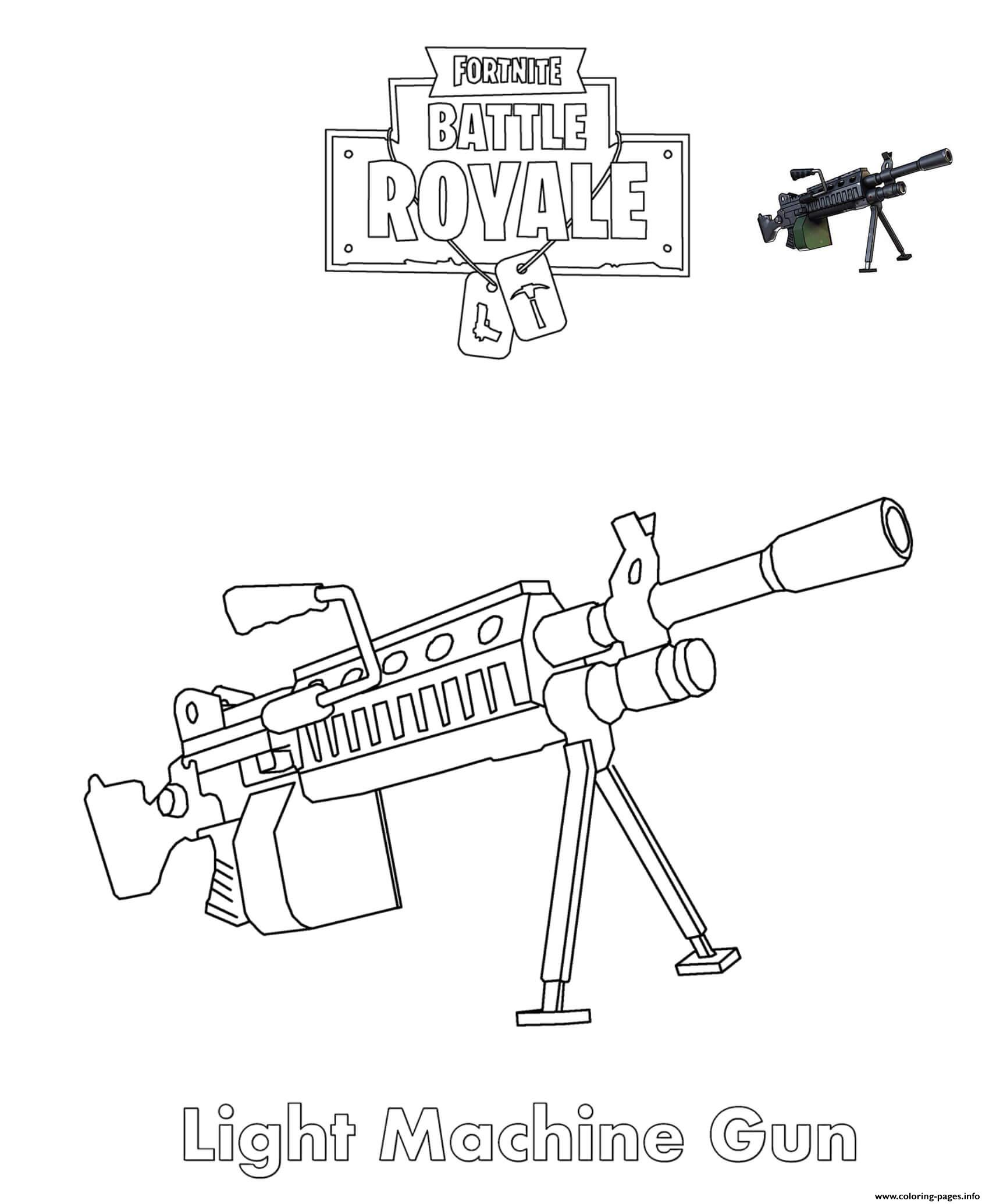 Light Machine Gun Fortnite Battle Royale Coloring Pages