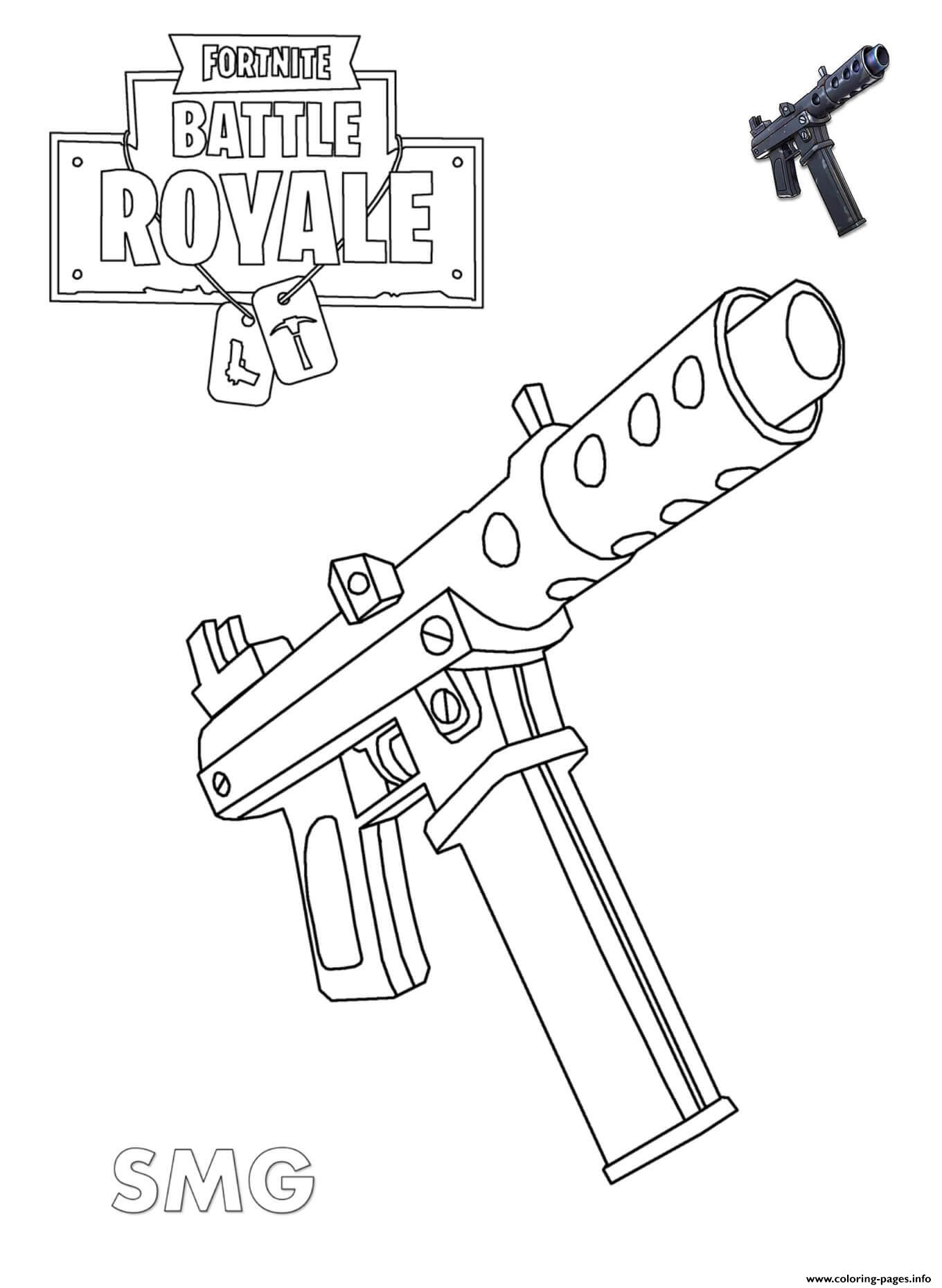 Kleurplaat Minecraft Skins Machine Pistol Fortnite Coloring Pages Printable