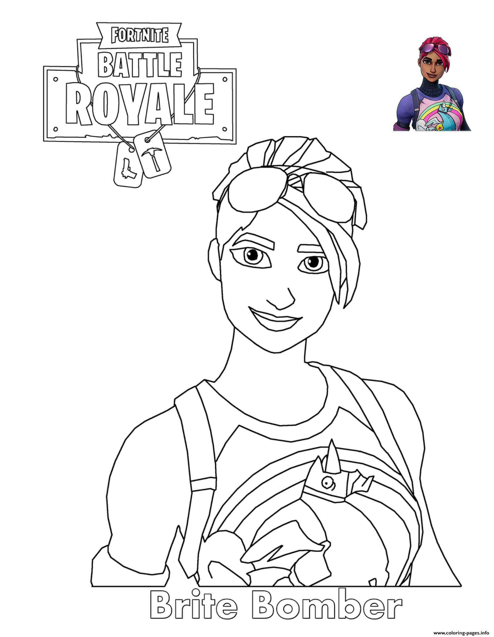 Coloriage Emoji Fortnite.Brite Bomber Fortnite Battle Royale Coloring Pages Printable