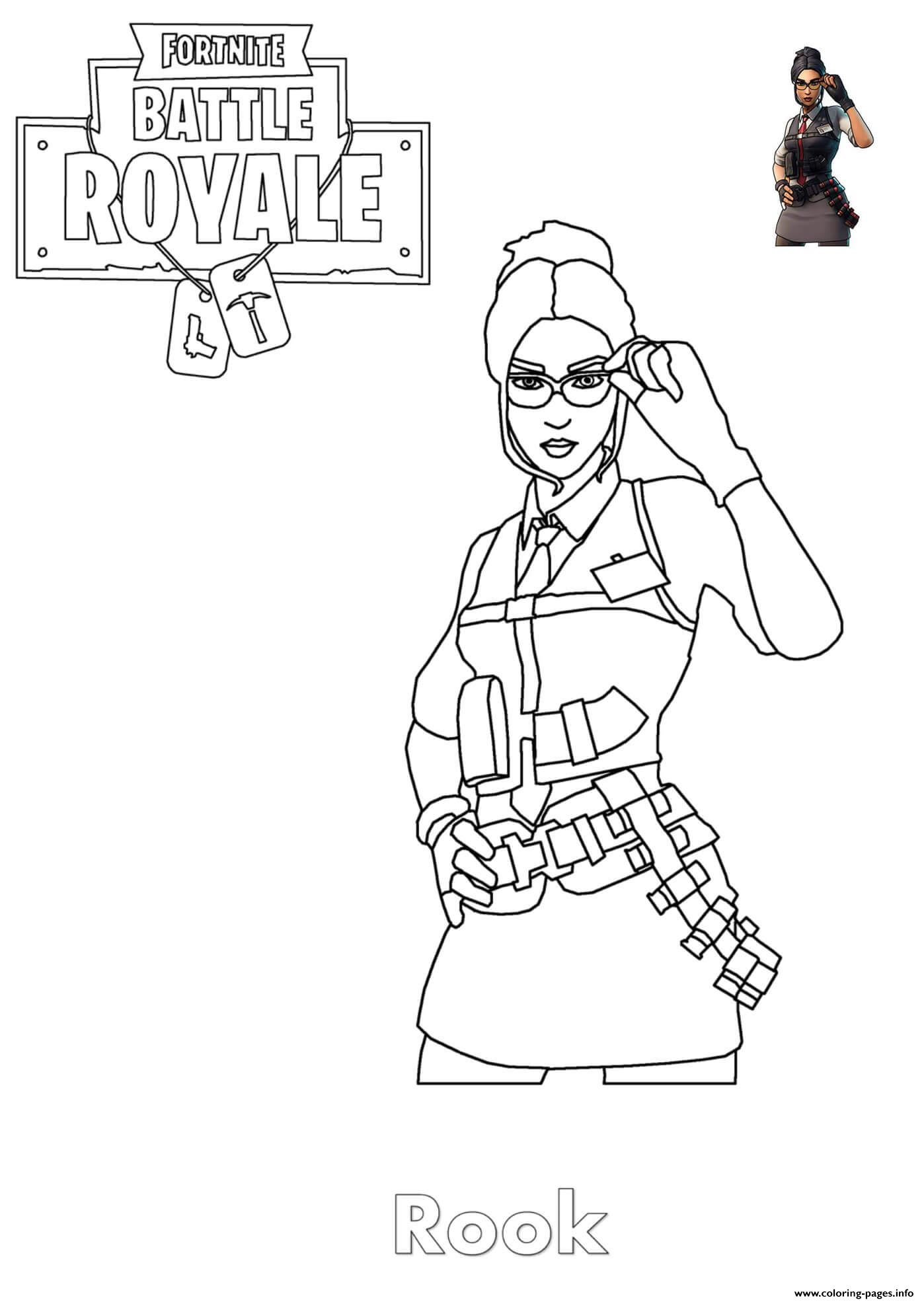 Rook Fortnite Girl Coloring Pages Printable