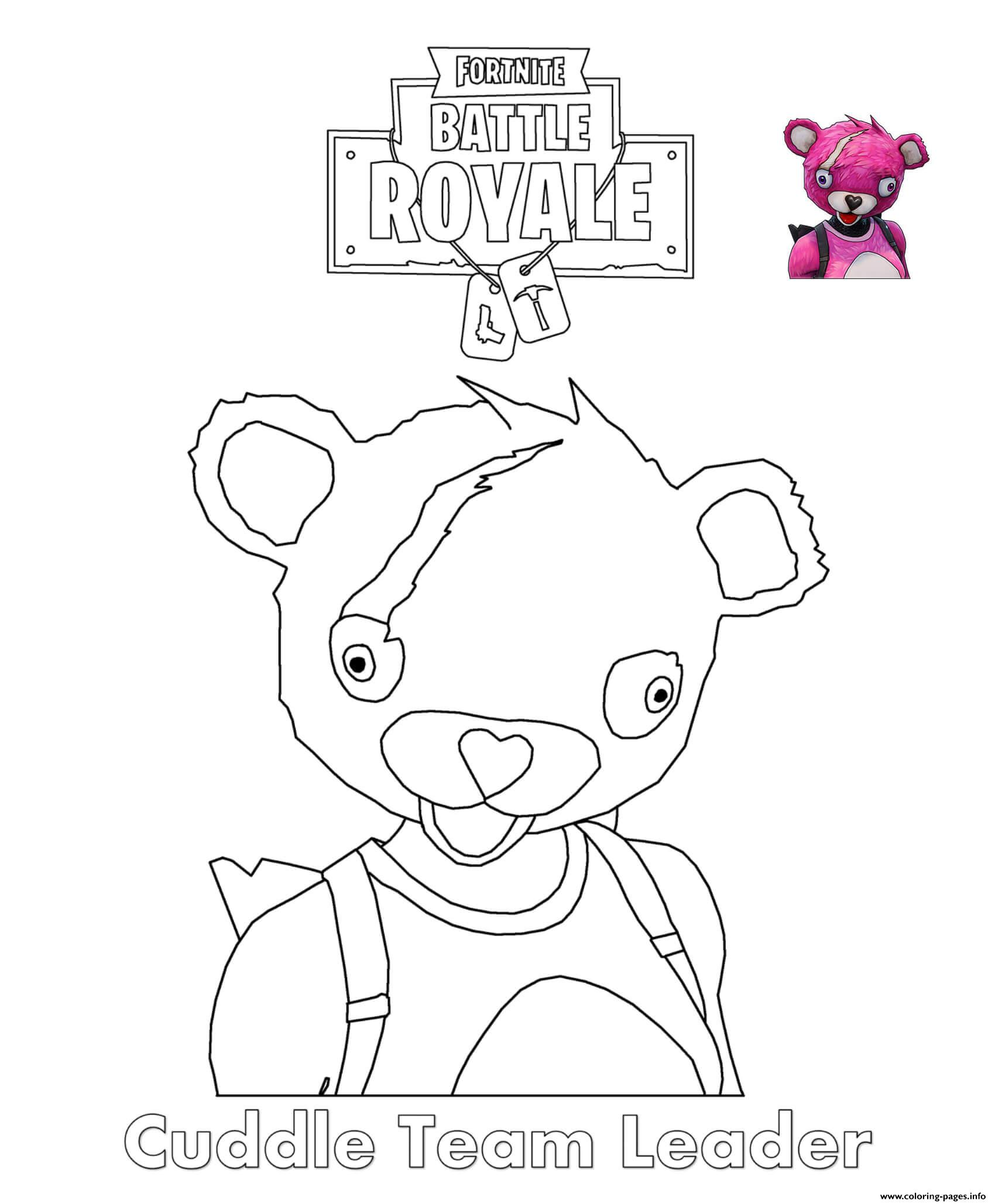 Cuddle Team Leader Fortnite coloring pages