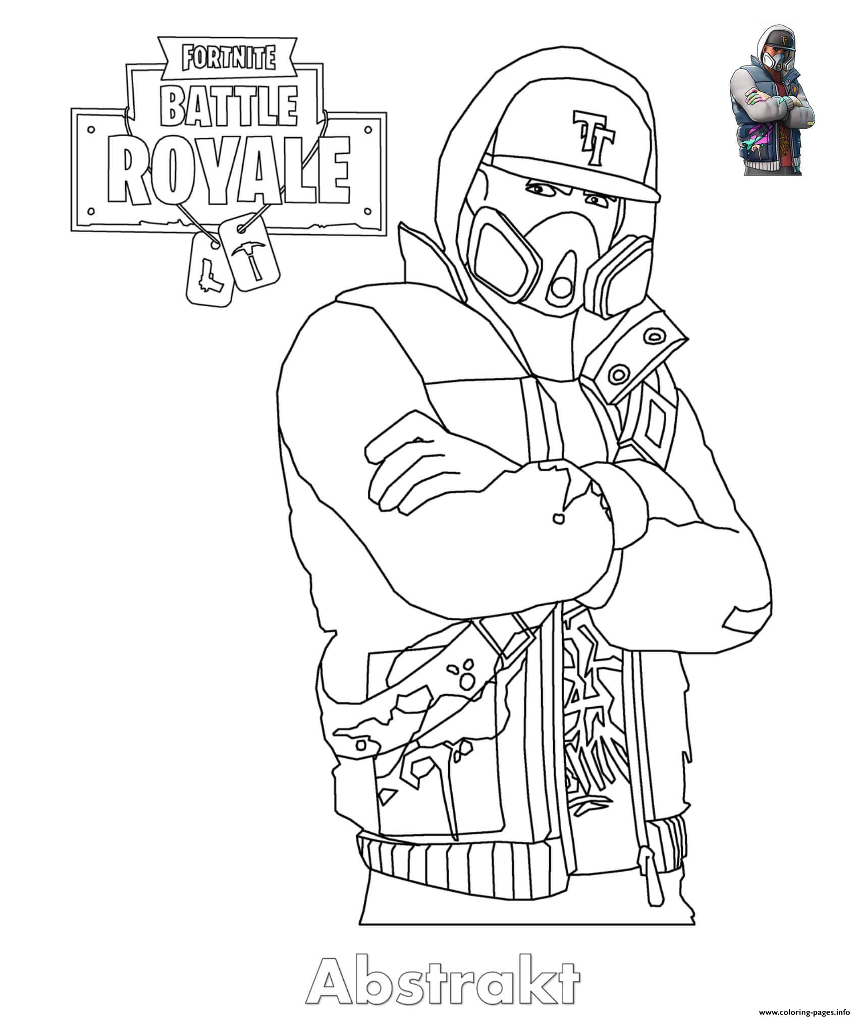 Abstrakt Fortnite Skin Coloring Pages Printable