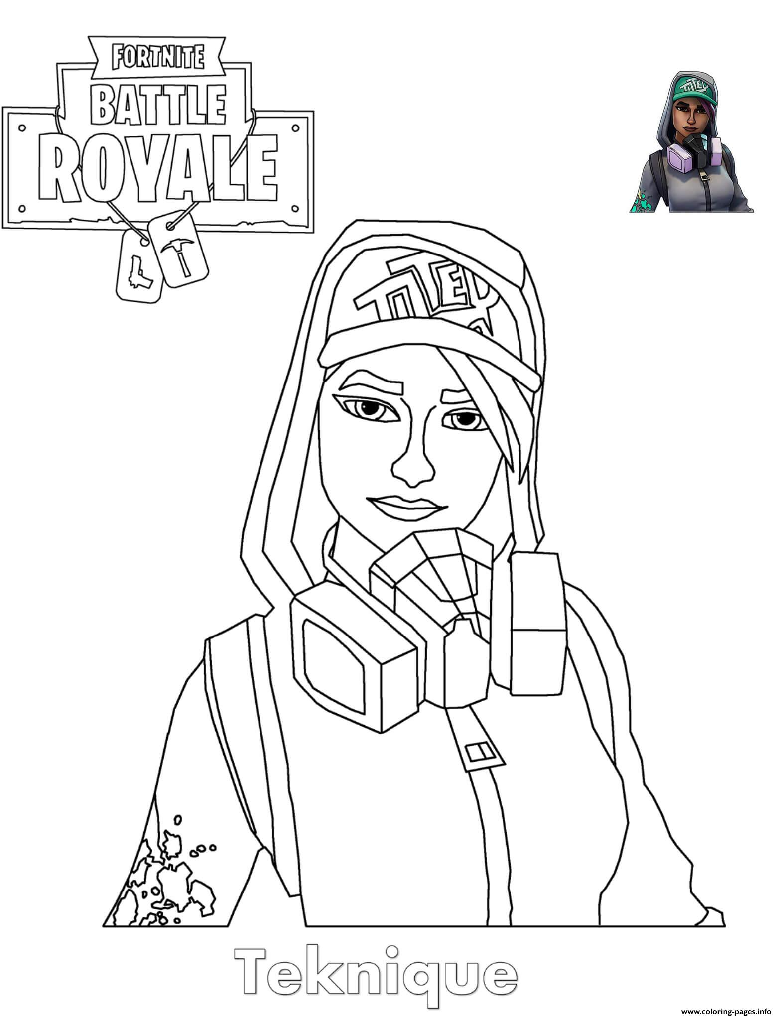 Teknique Fortnite Girl Coloring Pages Printable