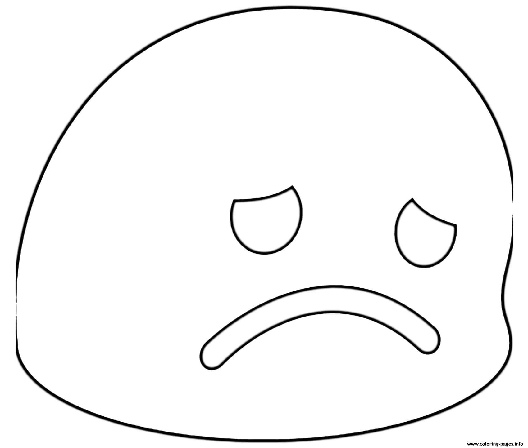 Google Emoji Disappointed coloring pages