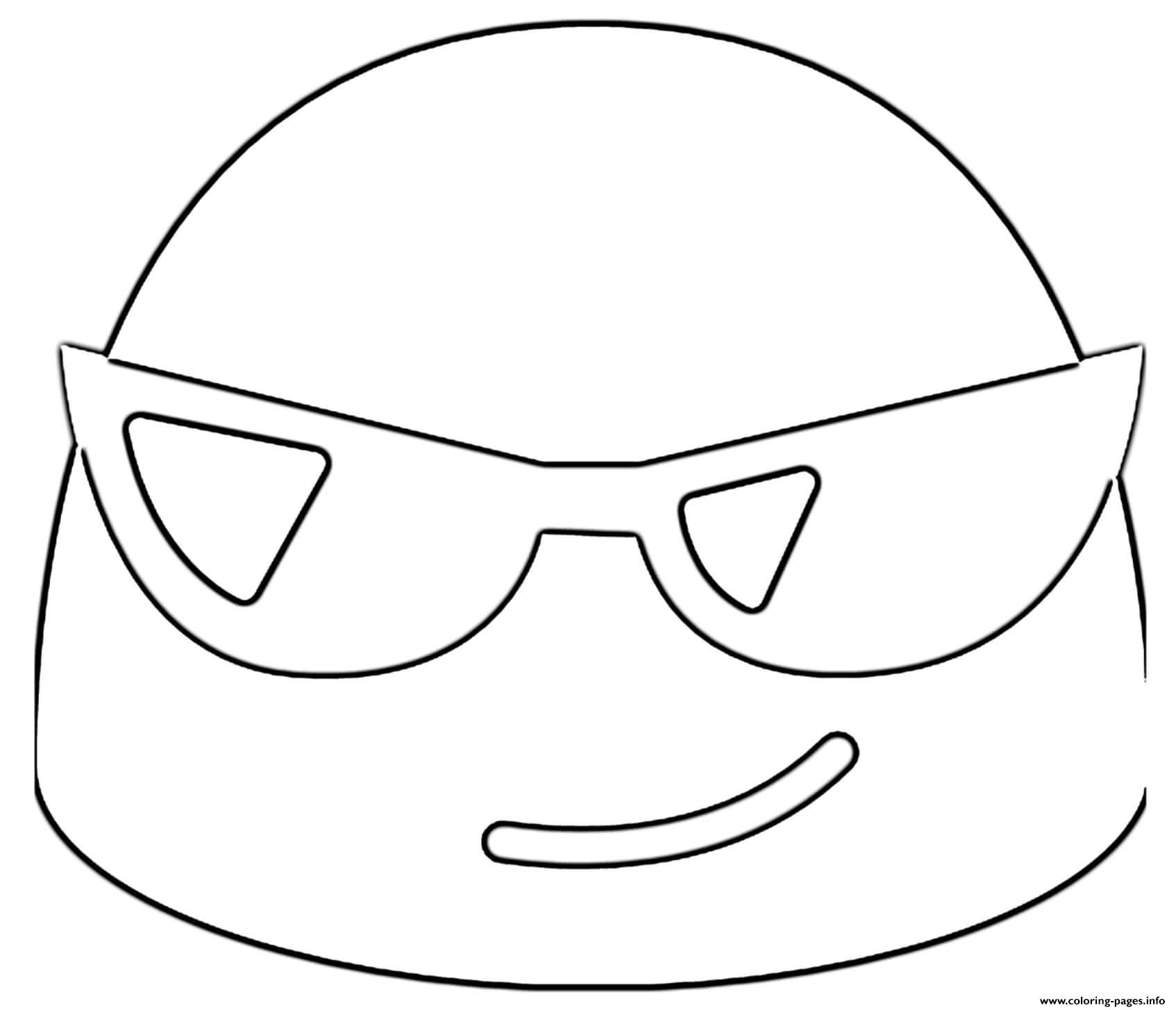Google Emoji Sunglasses Coloring Pages Printable