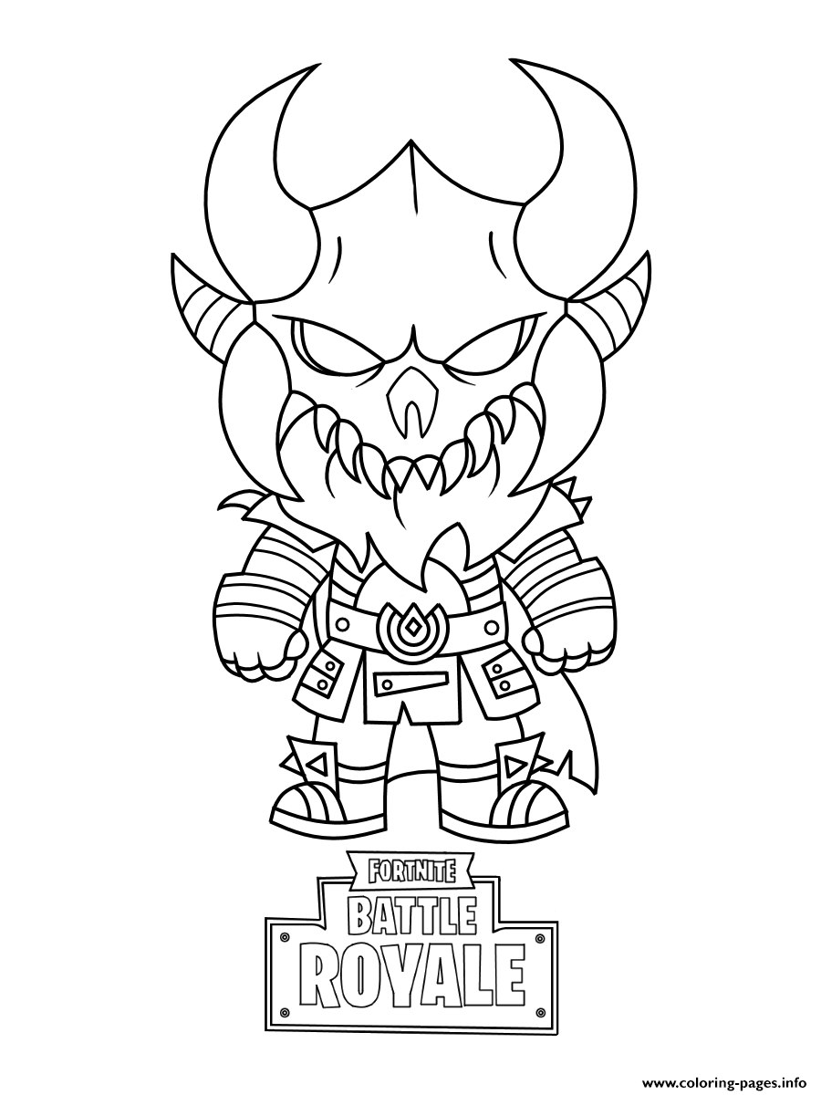 Fortnite Mini Cute The Dark Viking Coloring Pages Printable