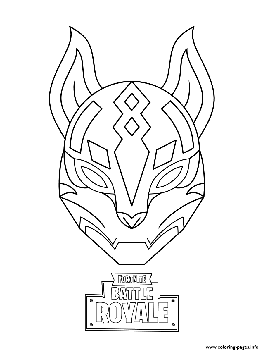 graphic regarding Free Printable Fortnite Coloring Pages called Drift Supreme Mask Fortnite Coloring Web pages Printable