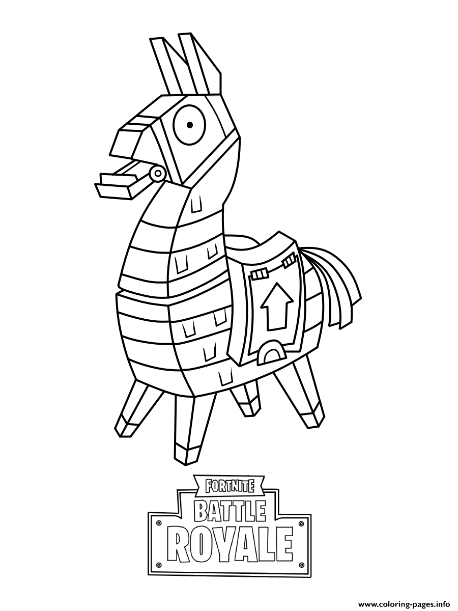 Mini Fortnite Lama Skin Coloring Pages Printable