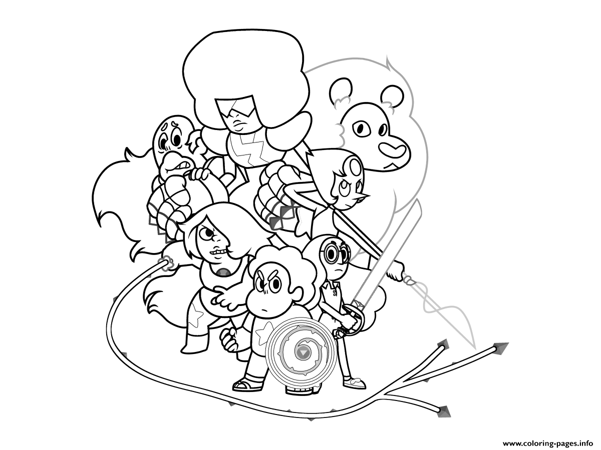 Steven Universe Crystal Gems Magic Coloring Pages Printable