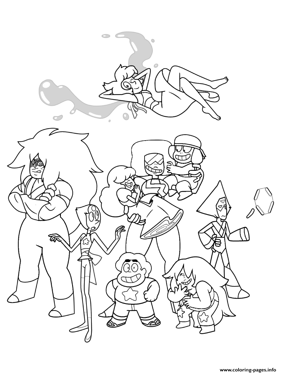 Steven Universe Characters Cartoon Coloring Pages Printable