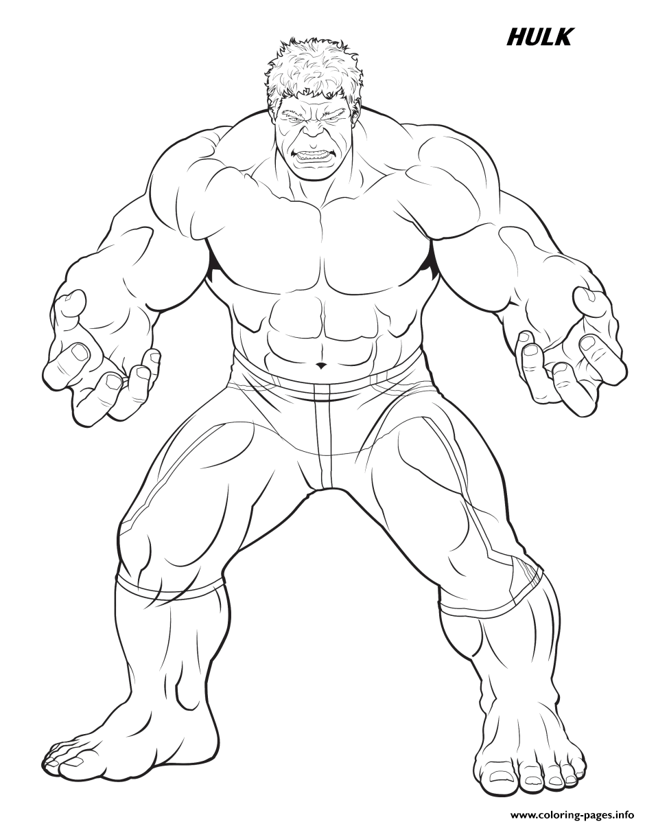 Hulk From The Avengers Coloring Pages Printable
