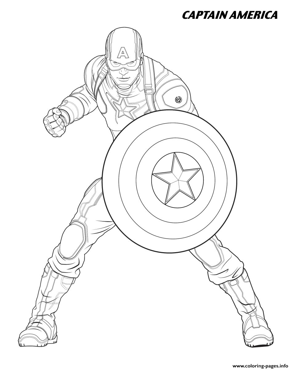Captain America From The Avengers Coloring Pages Printable